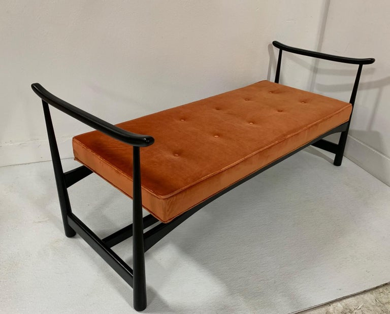 1950s Asian Style Bench.  Has a black lacquered walnut frame with original velvet tufted seat.   Mid century modern.