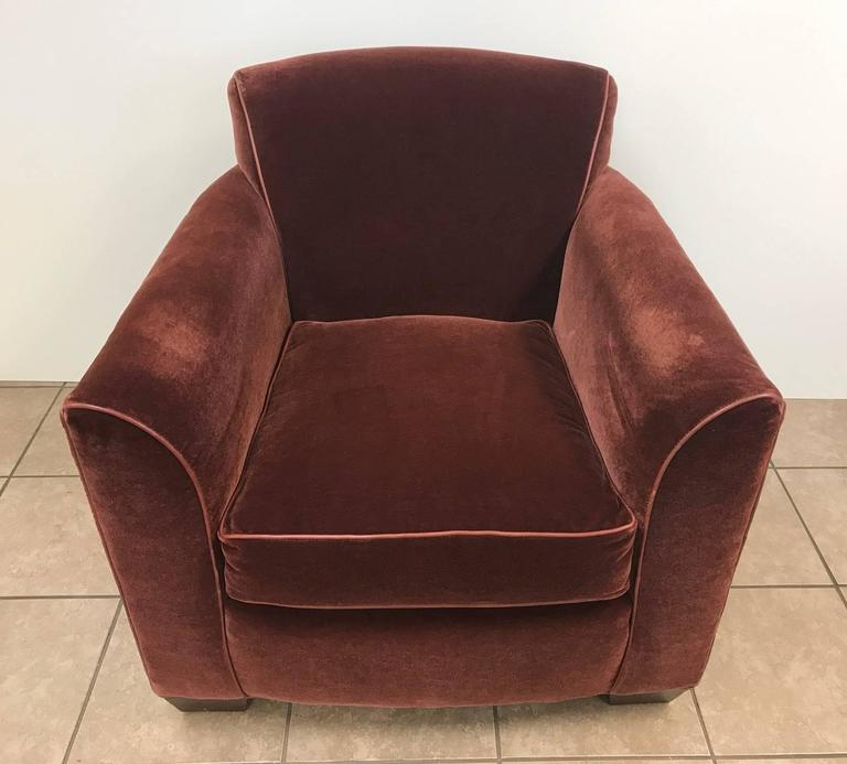Pair of Art Deco Style Mohair Velvet with Leather Trim Lounge Chairs 4