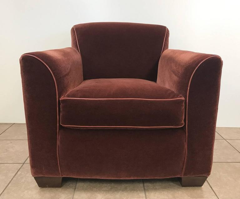 Pair of Art Deco Style Mohair Velvet with Leather Trim Lounge Chairs 2