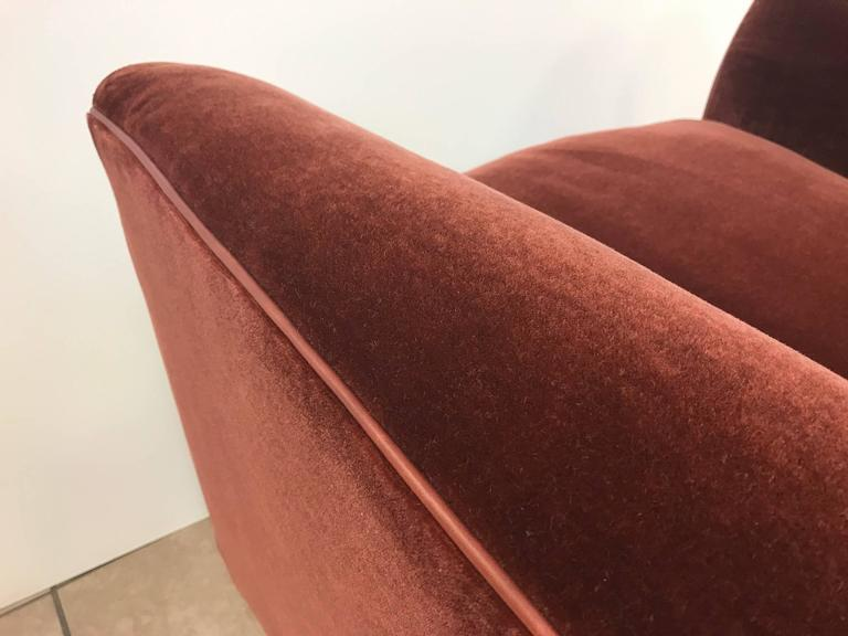 Pair of Art Deco Style Mohair Velvet with Leather Trim Lounge Chairs 5