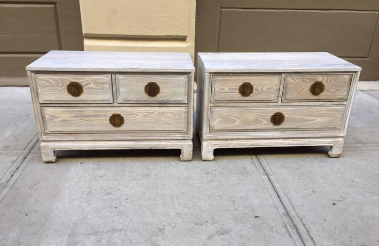 Pair of Cerused Oak Chests 2
