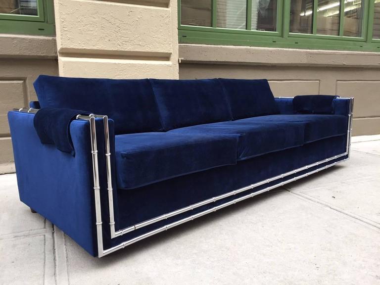 Mid Century Modern Faux Bamboo Blue Velvet Sofa