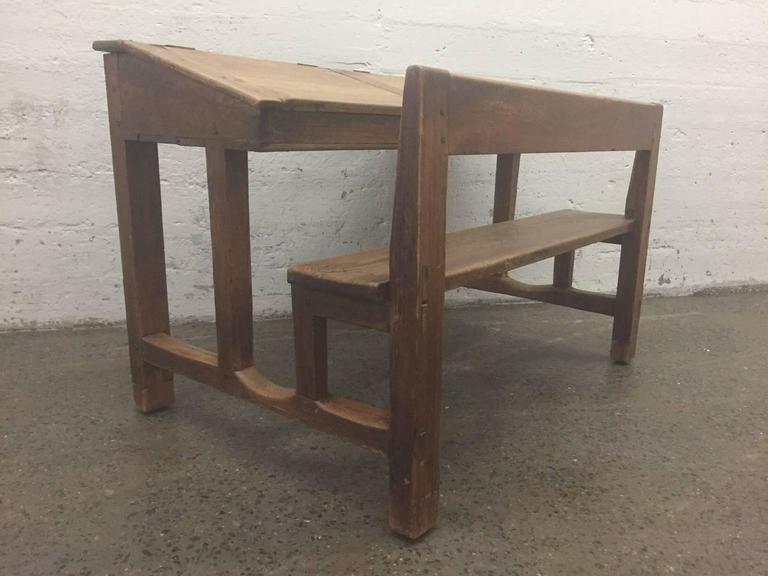 Antique Solid Pine Double School Desk 3 - Antique Solid Pine Double School Desk For Sale At 1stdibs