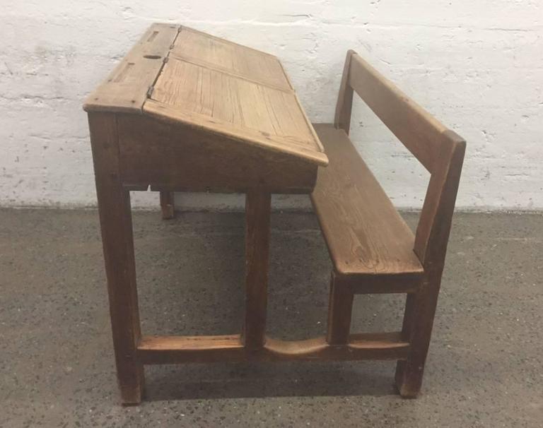 Antique Solid Pine Double School Desk 2 - Antique Solid Pine Double School Desk For Sale At 1stdibs