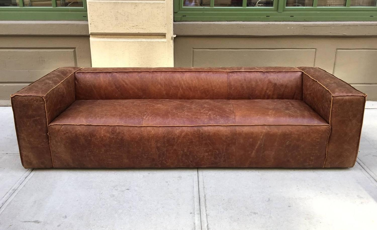 Pair 9 Ft Italian Distressed Leather Sofa For Sale At 1stdibs