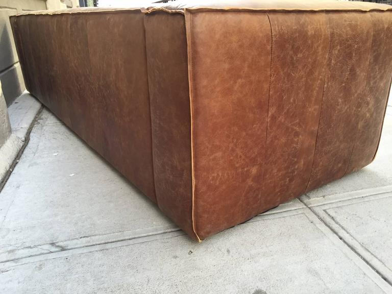 Unknown Pair of Contemporary Distressed Leather Sofas For Sale