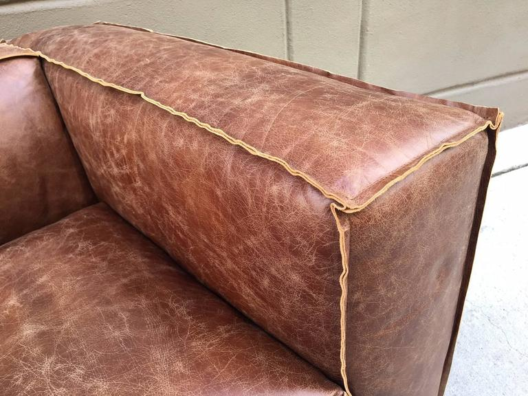 Pair of Contemporary Distressed Leather Sofas In Good Condition For Sale In New York, NY