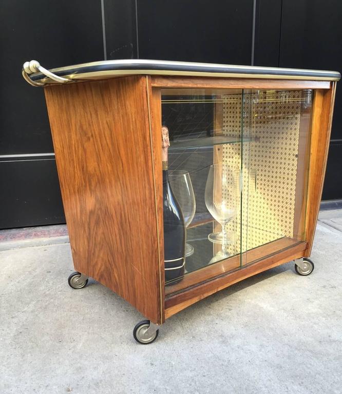 Mid-Century Modern Italian Rosewood Liquor Cabinet / Bar Cart For Sale