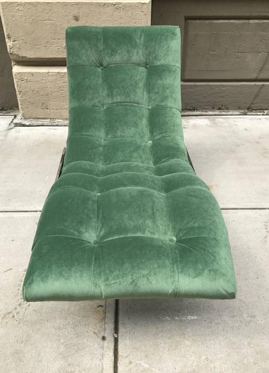 Polished Milo Baughman Style Wave Chaise Lounge For Sale