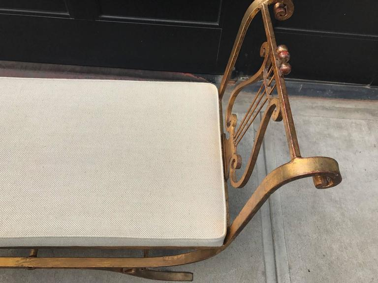 Neoclassical Style Gold Gilt Iron Bench 5
