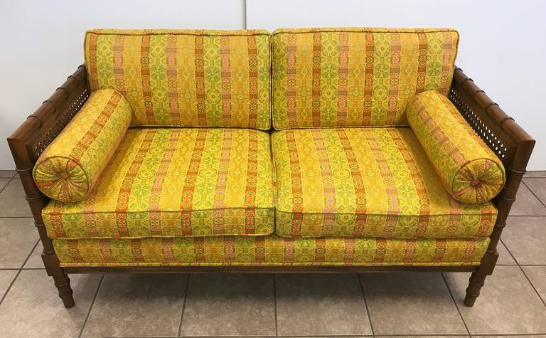 Pair of Hollywood Regency Wooden Faux Bamboo Sofas 3
