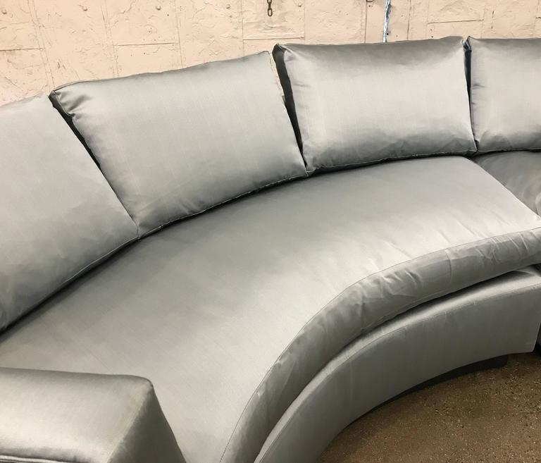 Mid-Century Modern Two-Piece Sofa Sectional in Satin  For Sale