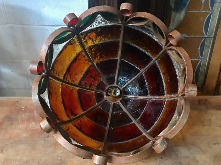 Industrial Multicolored Glass Light Fixture For Sale