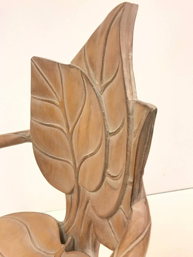 Pair of Bartolozzi & Maioli Carved Wooden Leaf Armchairs For Sale 2
