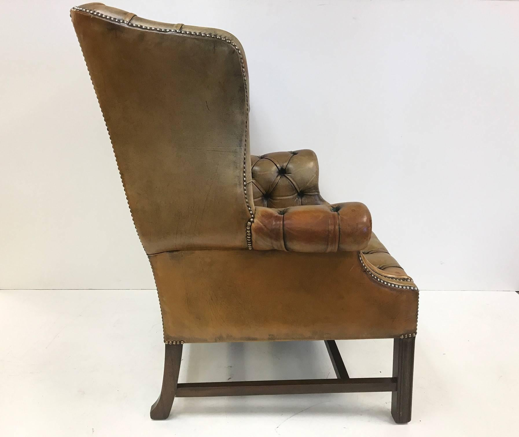 Chippendale Vintage English Leather Tufted Wingback Library Chair For Sale