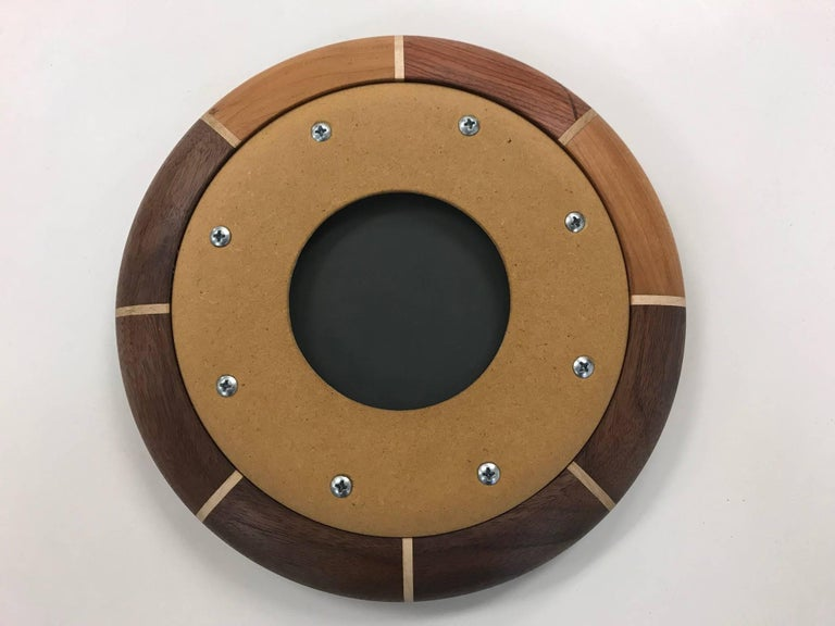 Contemporary Small Custom Walnut and Maple Inlay Mirror For Sale