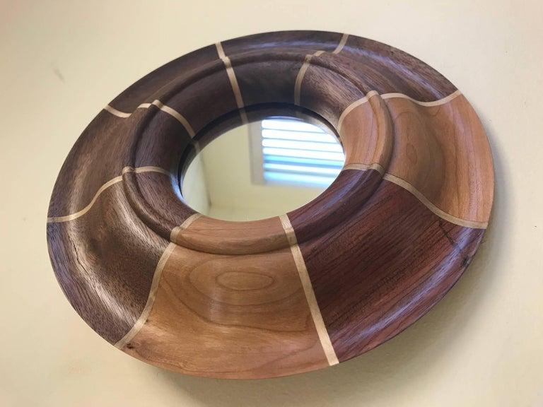 Modern Small Custom Walnut and Maple Inlay Mirror For Sale