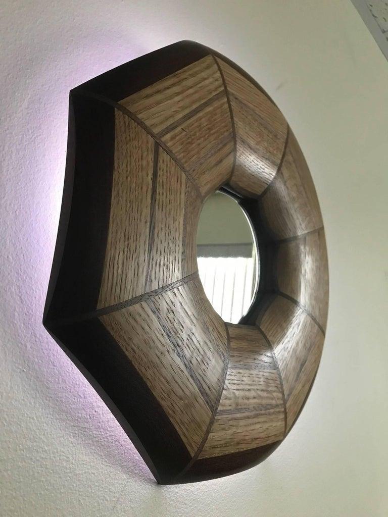 Modern Custom Oak and Walnut Illuminated Mirror For Sale