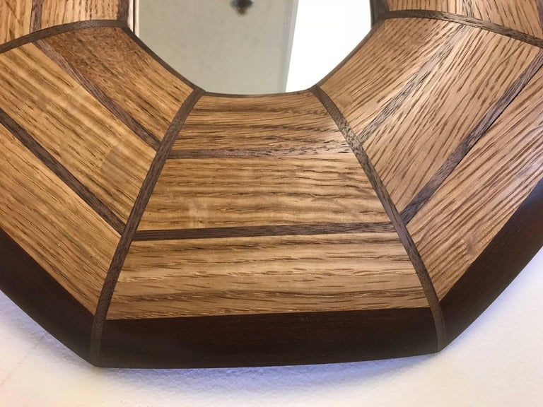 Custom Oak and Walnut Illuminated Mirror In Excellent Condition For Sale In New York, NY