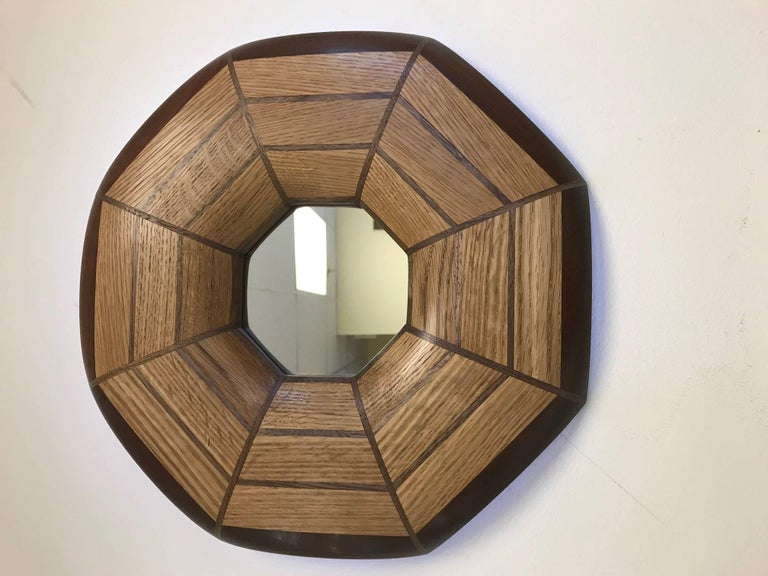Custom oak and solid walnut illuminated mirror. The mirror listed is currently available.