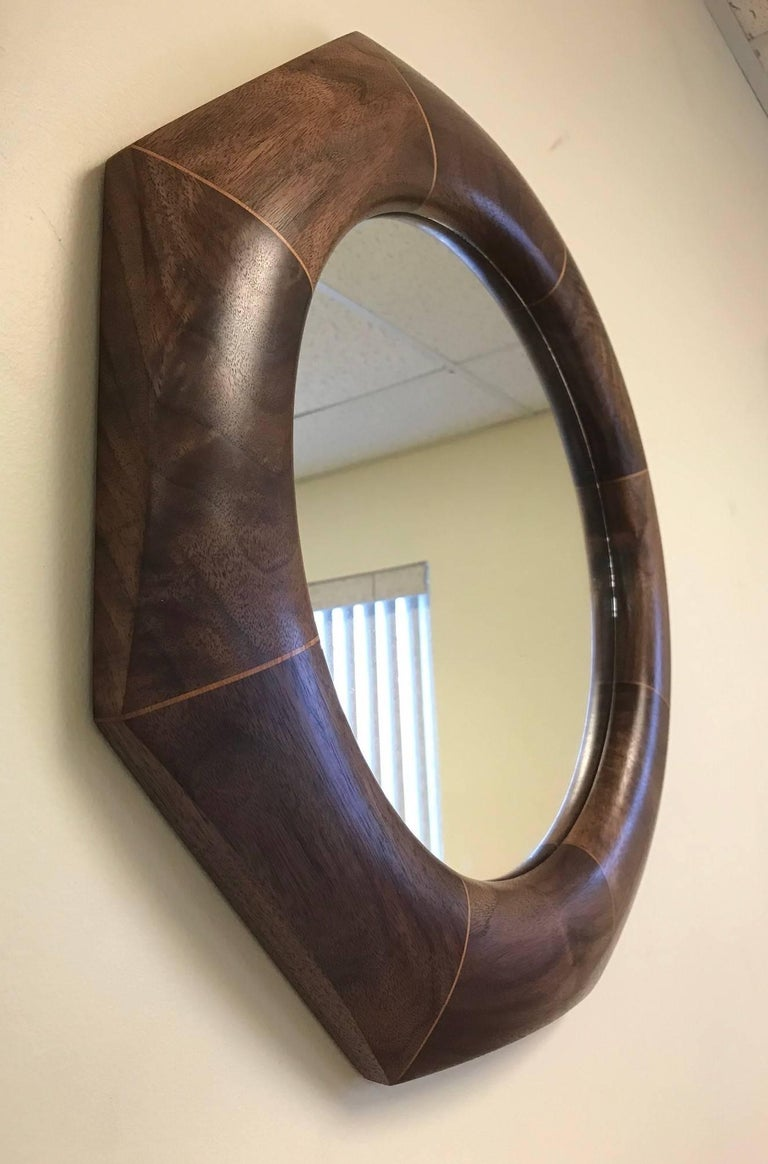 Custom solid walnut octagonal mirror.   The mirror listed is currently available.