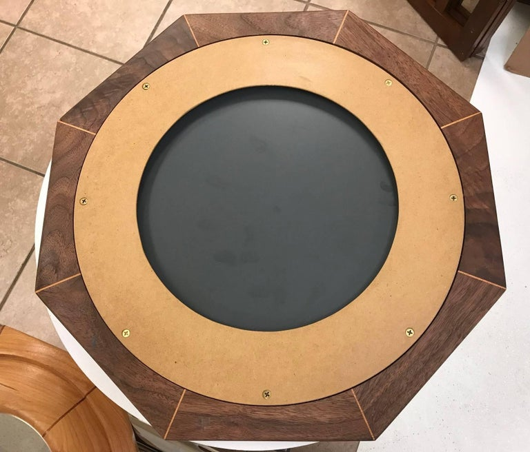 Custom Solid Walnut Octagonal Mirror In Excellent Condition For Sale In New York, NY