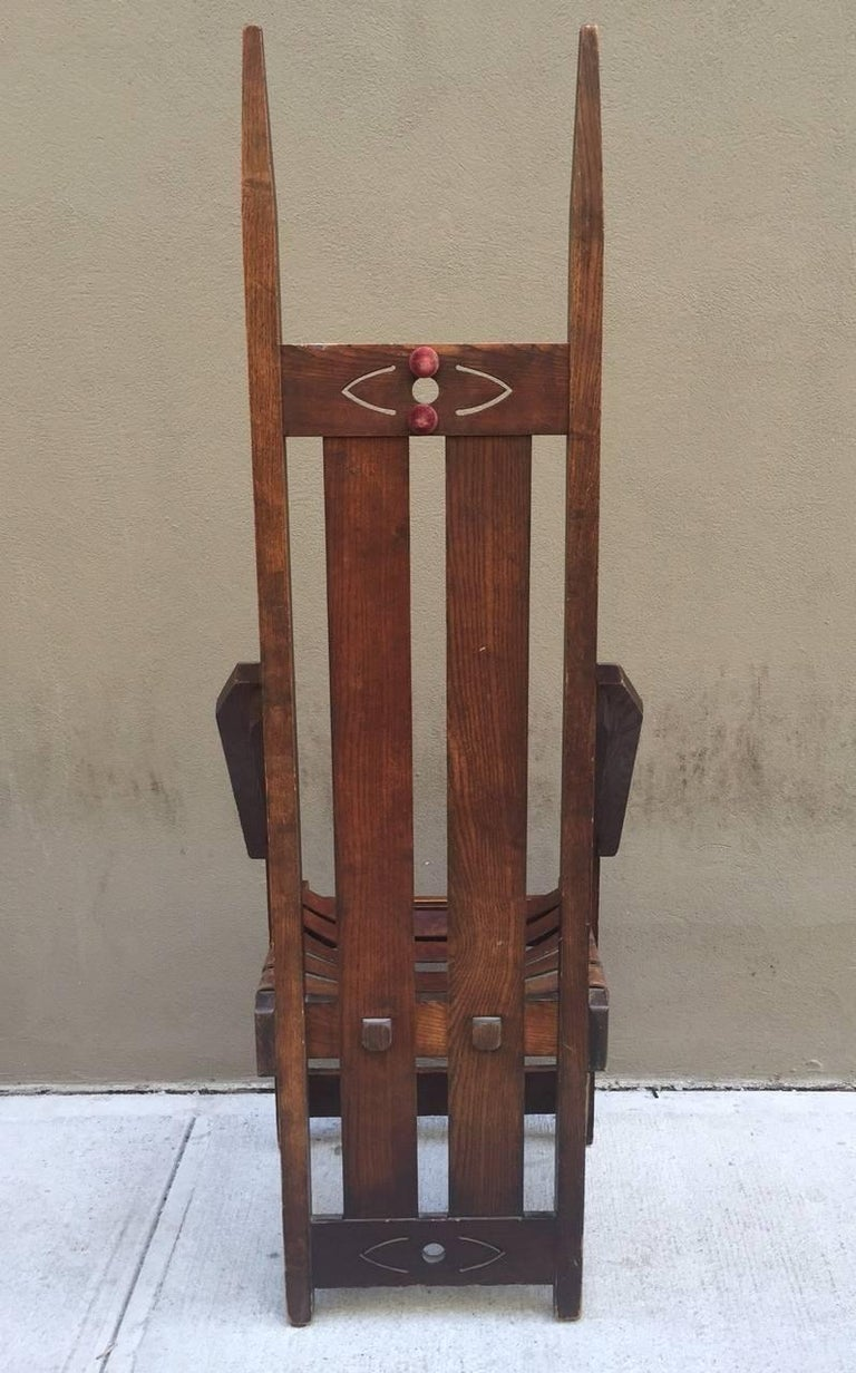 American Pair of Oak High Back Mission Chairs in the Style of Charles Rohlfs For Sale