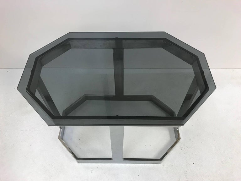 Mid-Century Modern Pair of Chrome and Smoked Glass Tables by Milo Baughman For Sale