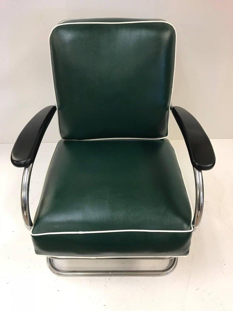 Art Deco Pair of KEM Weber for Lloyd Tubular Chrome Lounge Chairs For Sale