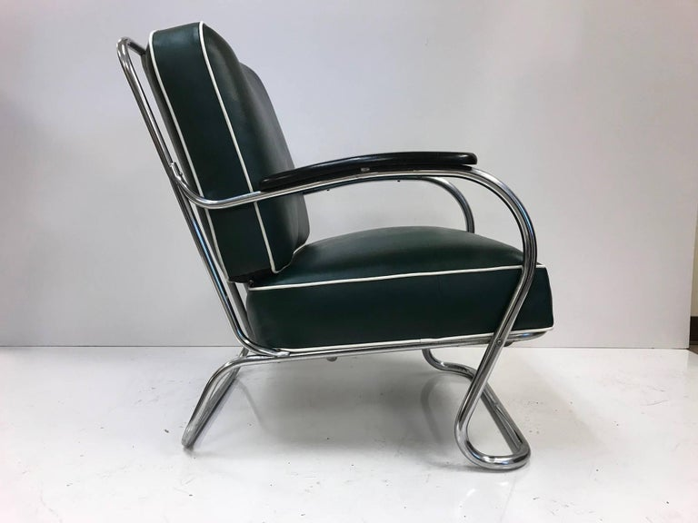 Pair of KEM Weber for Lloyd Tubular Chrome Lounge Chairs In Good Condition For Sale In New York, NY