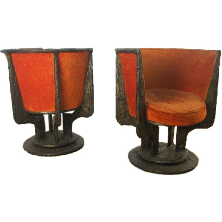 Mid-Century Modern Set of Four Paul Evans Sculpted Bronze Chairs For Sale