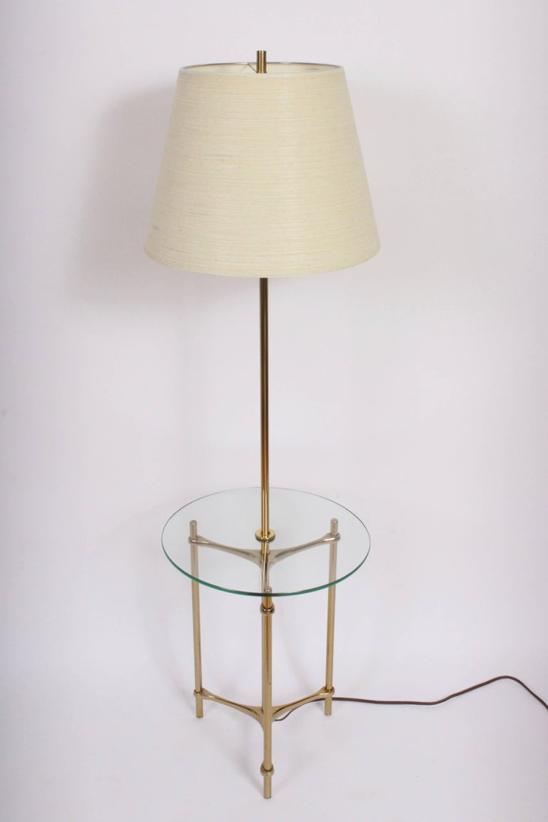 1970s Laurel Lamp Company Brass And Side Table Floor Lamp At 1stdibs