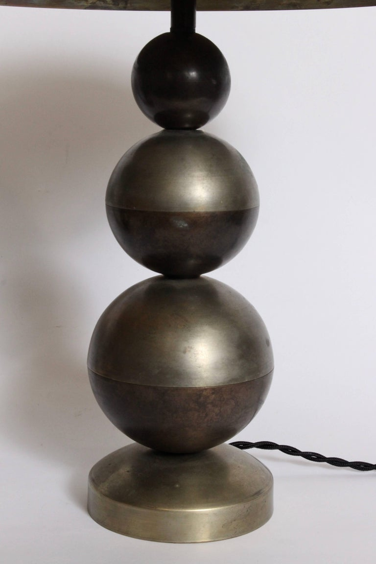 Plated Art Deco Pair of Stacked Ball Nickel Plate and Brass Table Lamps with Dome Shade For Sale