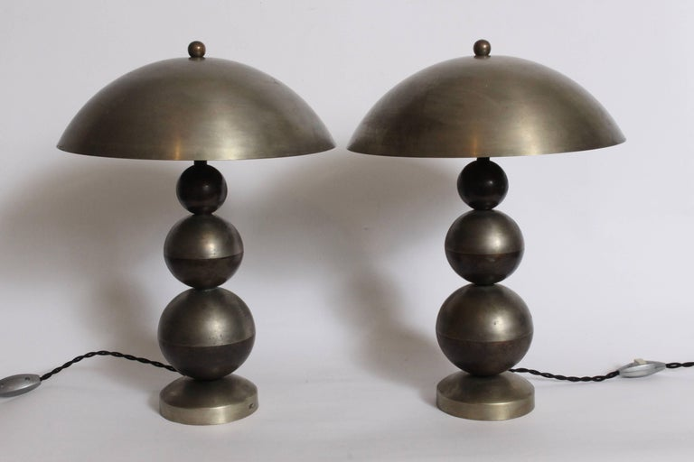 Mid-20th Century Art Deco Pair of Stacked Ball Nickel Plate and Brass Table Lamps with Dome Shade For Sale