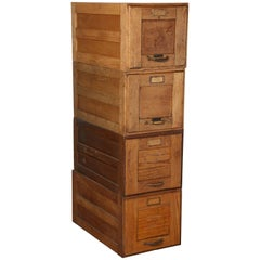 Early 20th Century Four Stack Oak File Boxes