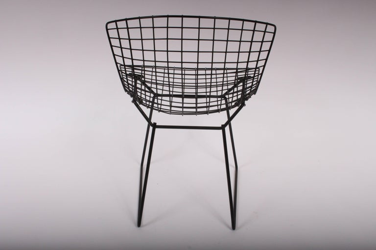 set of four original harry bertoia for knoll black wire side chairs