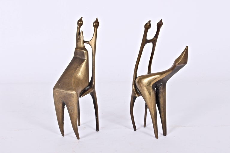 Signed Small Pair of Abstract Modern Figurative Bronze Sculptures, 1977 For Sale 2