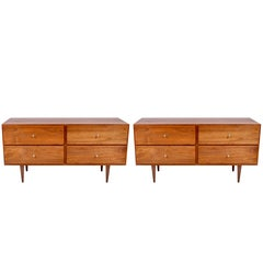 Pair of Paul McCobb Lower Black Walnut Four-Drawer Dressers, Nightstands, 1960s