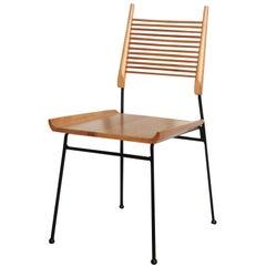 "Four Paul McCobb Maple and Black Enameled Iron Refinished ""Shovel"" Chairs, 1950s"