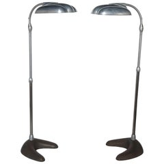 Pair of Sperti Sunlamp Aluminum and Cast Iron Adjustable Repurposed Floor Lamps