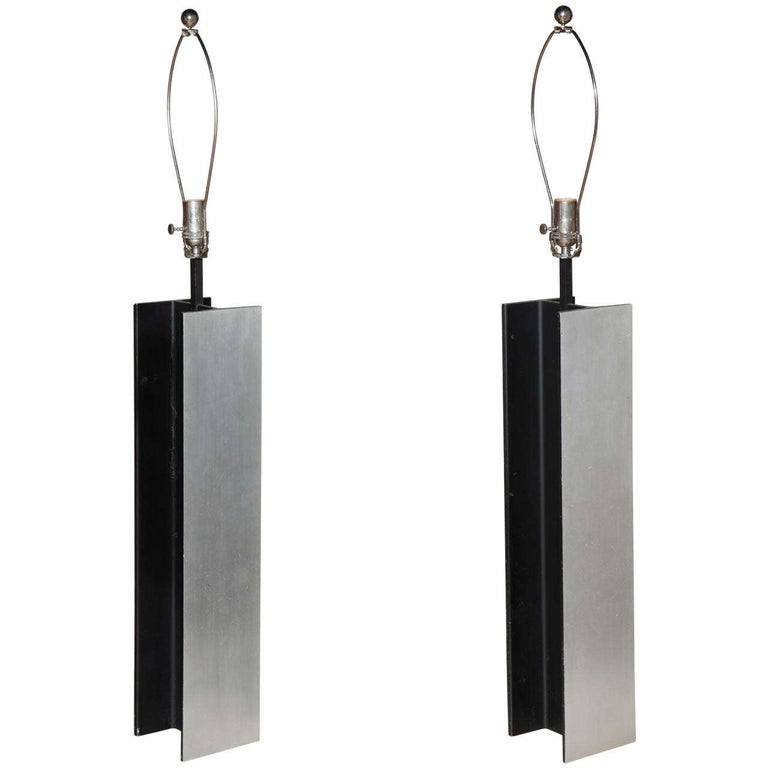 Pair Laurel Lamp Co. Steel I Beam Table Lamps, 1960's For Sale