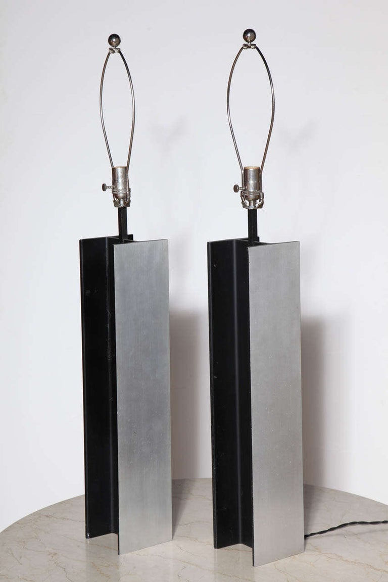 Substantial pair Laurel Lamp Company Brushed and Black enameled Steel I Beam Table Lamps. Industrial. Architectural. Statement lighting.