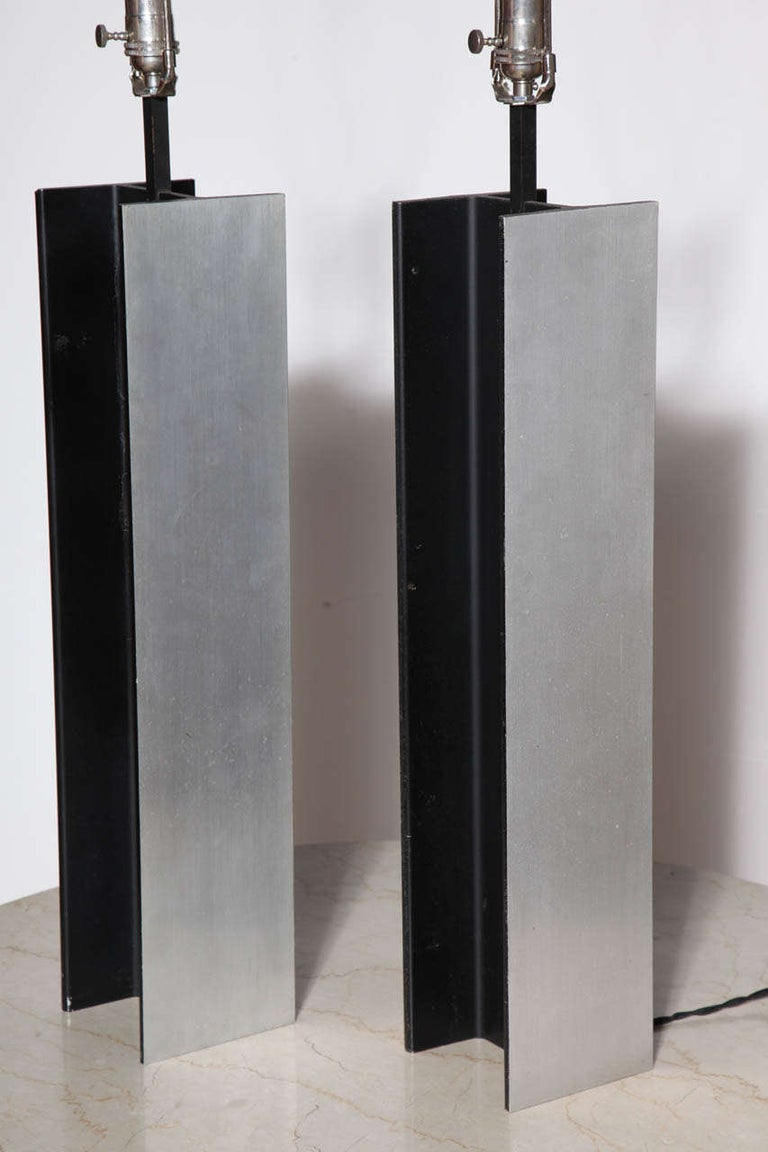 Pair Laurel Lamp Co. Steel I Beam Table Lamps, 1960's For Sale 1