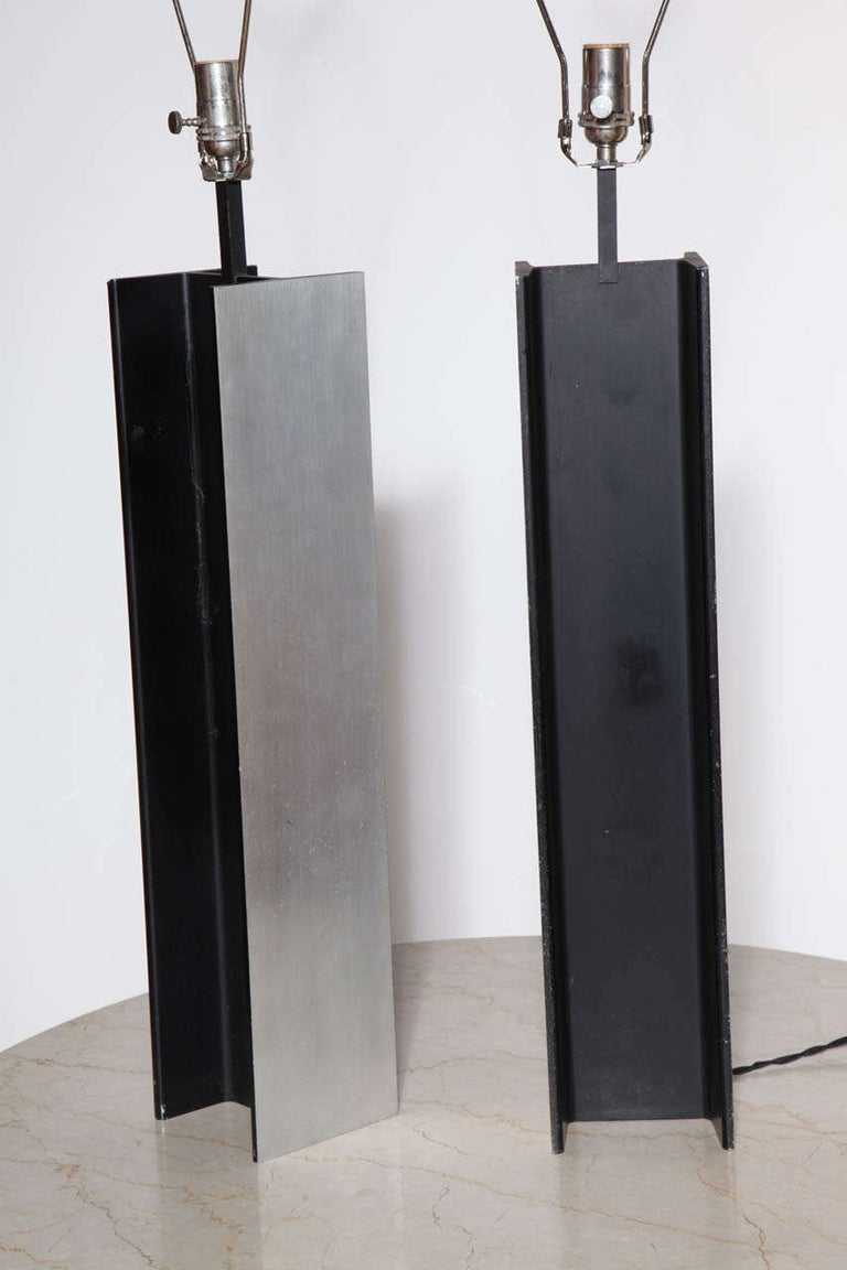 American Pair Laurel Lamp Co. Steel I Beam Table Lamps, 1960's For Sale