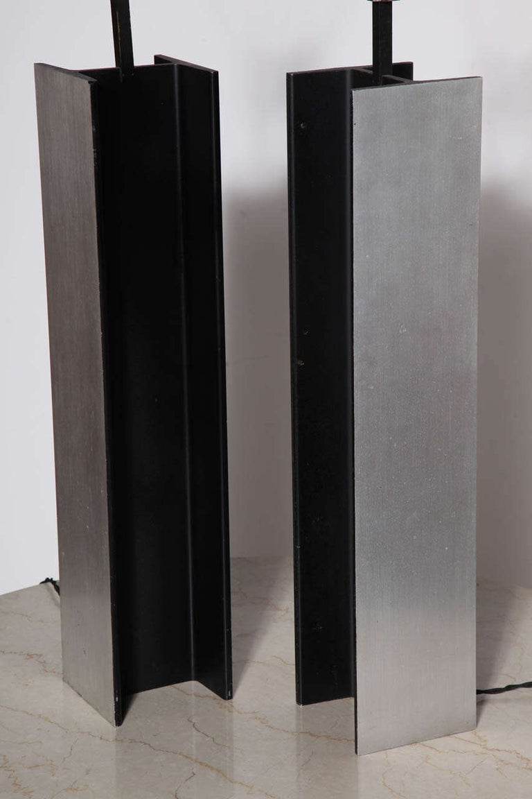 Brushed Pair Laurel Lamp Co. Steel I Beam Table Lamps, 1960's For Sale