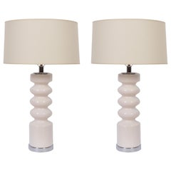 Tall Pair of Laurel Lamp Co. Off White Glazed Ceramic & Chrome Table Lamps, 1970