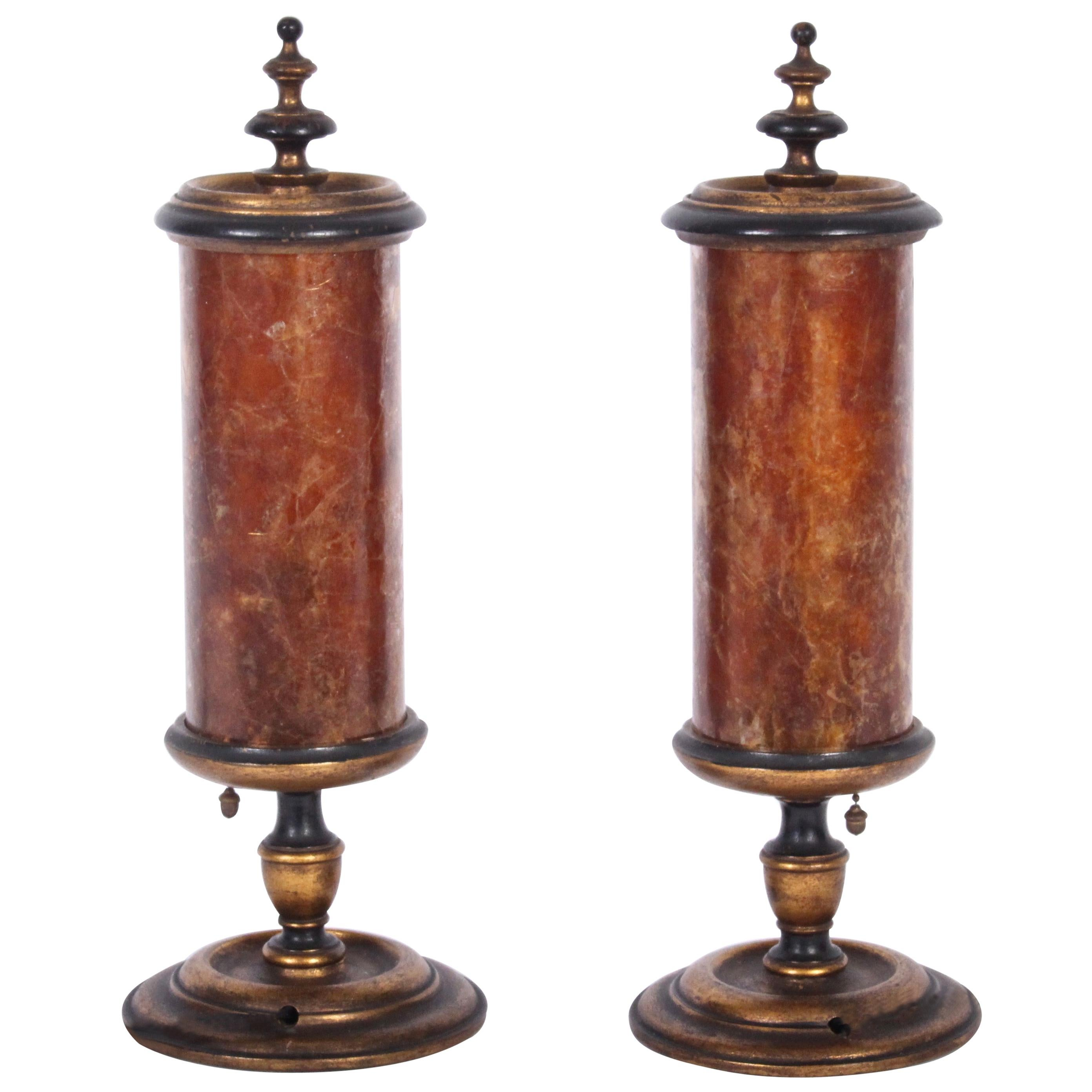 Pair Gilded Crimson Mica Shade Table Lamps, Early 20th Century