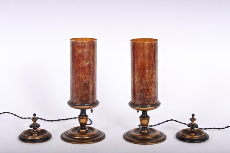 Arts and Crafts Early 20th Century Pair of Gilded Crimson Mica Shade Table Lamps  For Sale