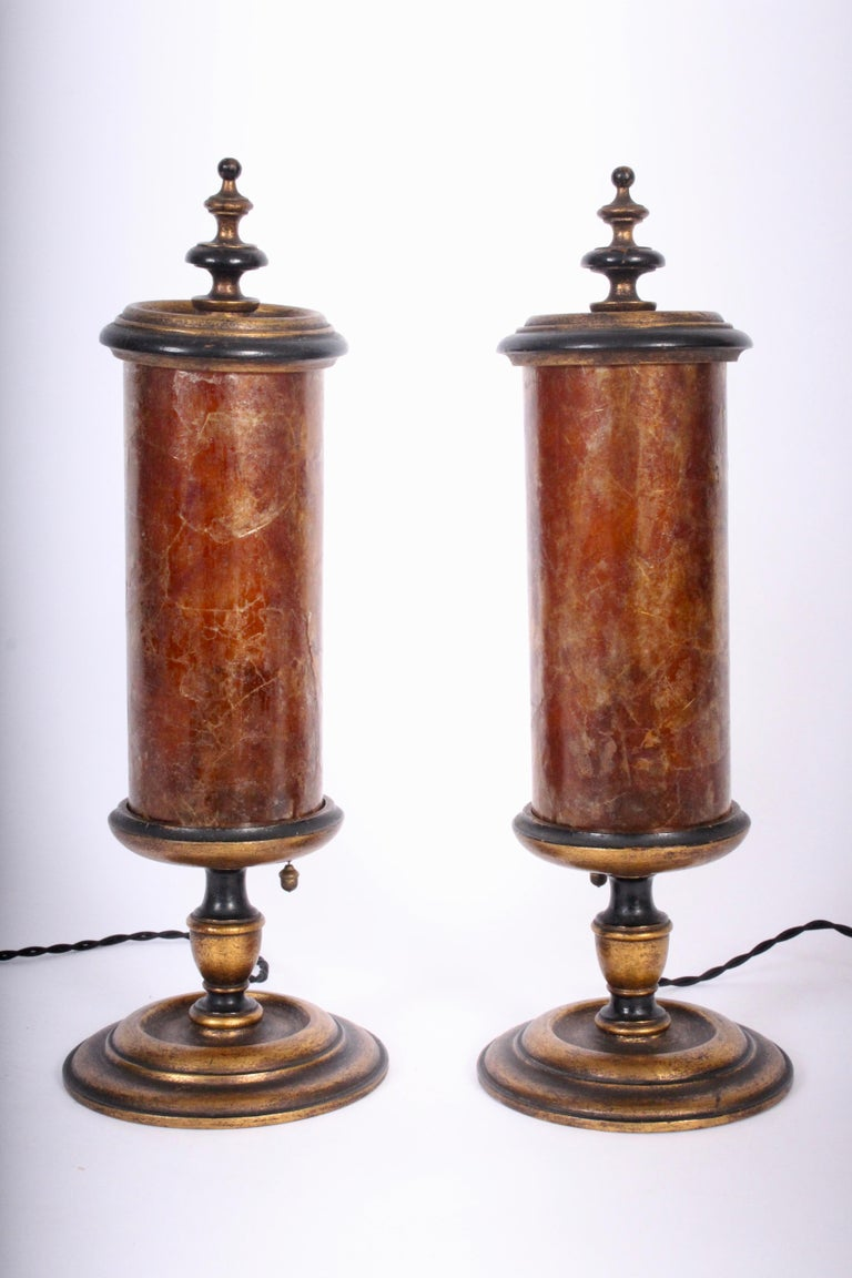 Stone Early 20th Century Pair of Gilded Crimson Mica Shade Table Lamps  For Sale