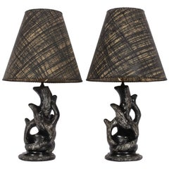 Pair P. Sanfilippo California Modern Black & White Chalkware Table Lamps, 1950s